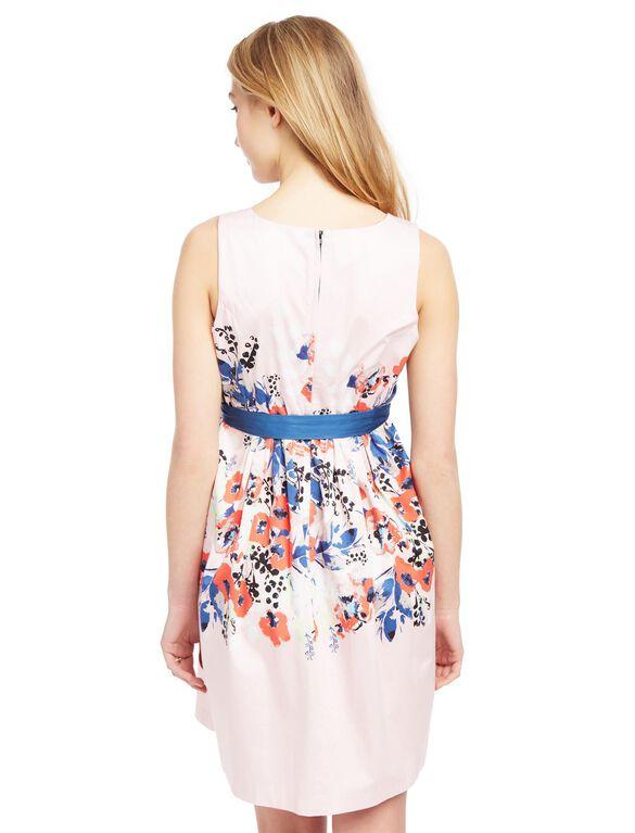 Sash Belt Sateen Maternity Dress- Floral Print, Floral Print