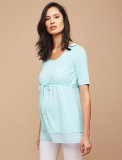 Knit Woven Tie Detail Maternity Top, Cool Aqua