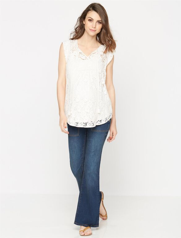 Daniel Rainn Crochet Detail Maternity Top, Ivory