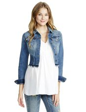 Jessica Simpson Frayed Hem Denim Maternity Jacket, Light Wash