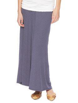 Fold Over Belly Chevron Stripe Maternity Skirt, Navy/White Stripe