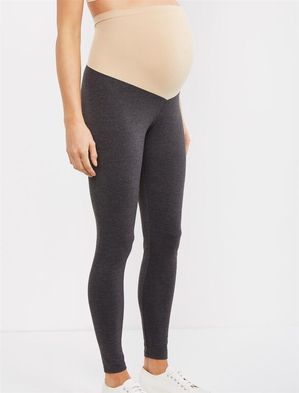 Secret Fit Belly Heathered Maternity Leggings, Heather Charcoal