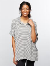 Lift Up Poncho Nursing Hoodie, Mini Stripe Grey