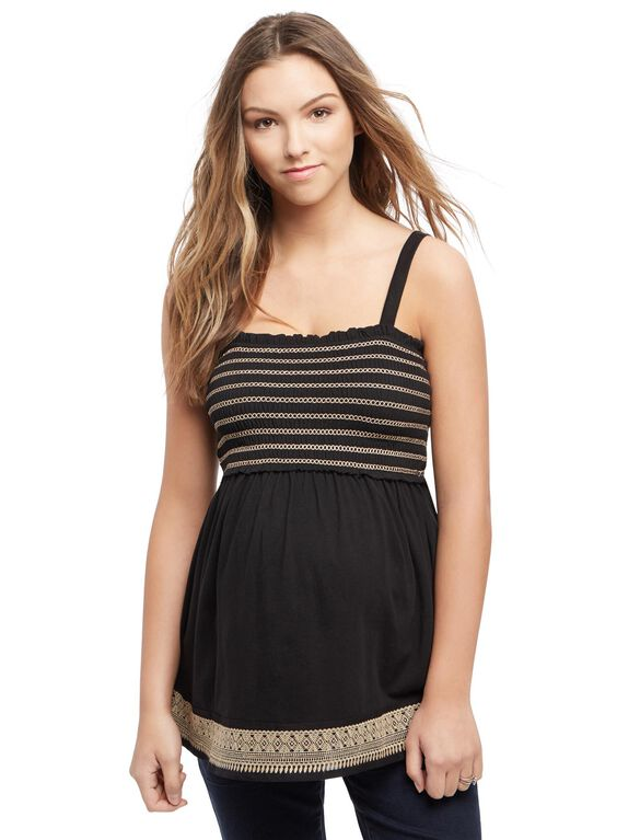Embroidery Maternity Tank Top, Black