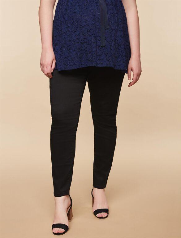Plus Size Secret Fit Belly Twill Skinny Leg Maternity Pants, Black