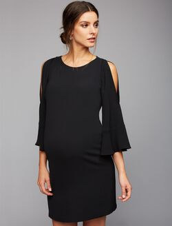 Cold Shoulder Bell Sleeve Maternity Dress, Black