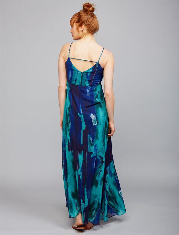 Tie Dye Maternity Maxi Dress- Blue/Green, Blue/Green Tie Dye