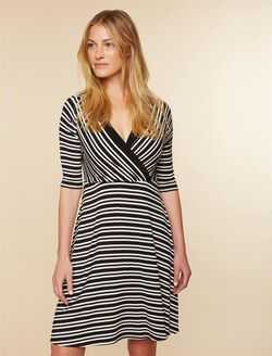 Pull Down A-line Nursing Dress, Black White Stripe