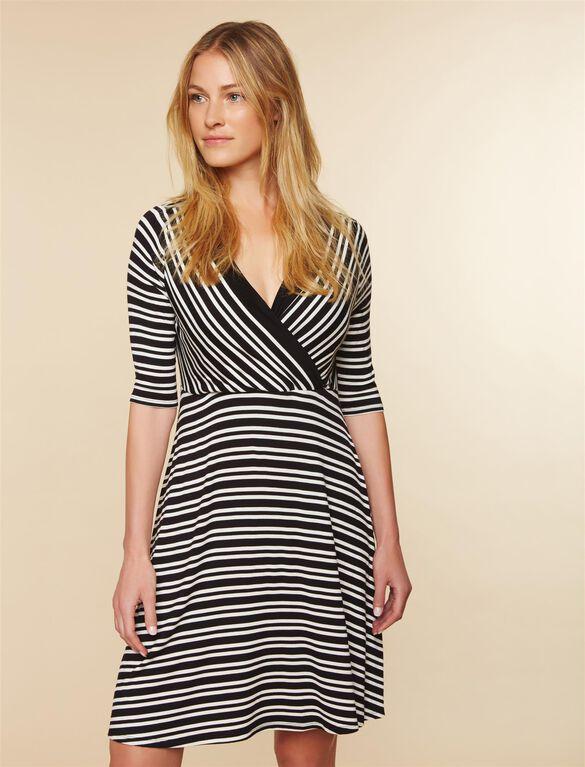 Pull Down A-line Nursing Dress, Black White Stripe