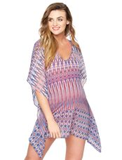 Caftan Maternity Swim Cover-up- Ikat, Multi Print