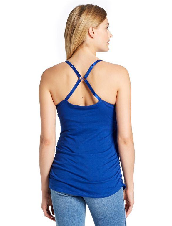 Jessica Simpson Clip Down Shelf Bra Nursing Cami- Solid, Mazarine Blue