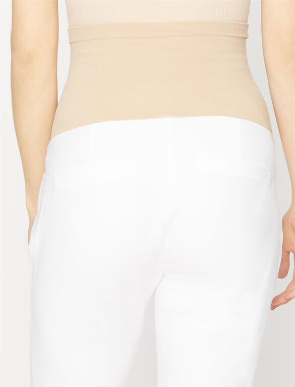 Secret Fit Belly Straight Ankle Maternity Pants- White, White