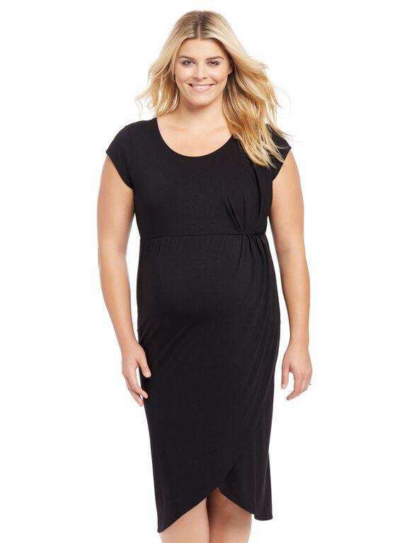 Plus Size Tulip Hem Maternity Dress- Black, Black
