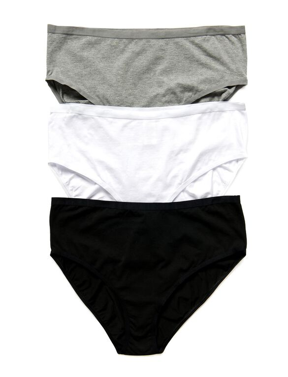 Plus Size Maternity Hi-Cut Panties (3 Pack)- Solids, Blk/Wht/Gry