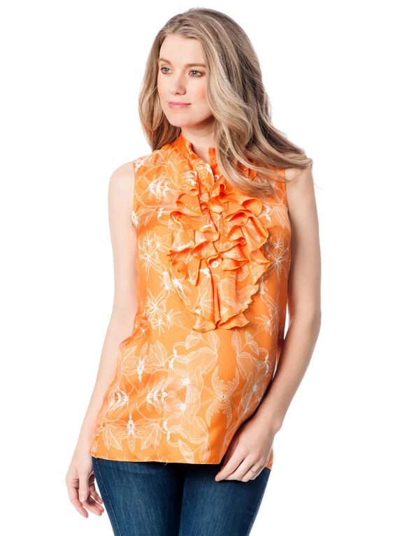 Madderson London Ruffle Front Maternity Blouse, Orange