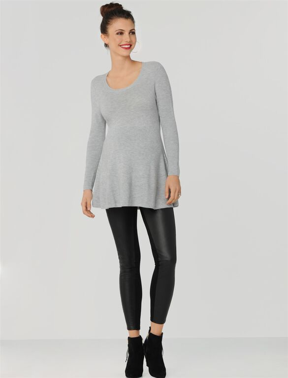 Peplum Maternity Sweater, Light Heather Grey