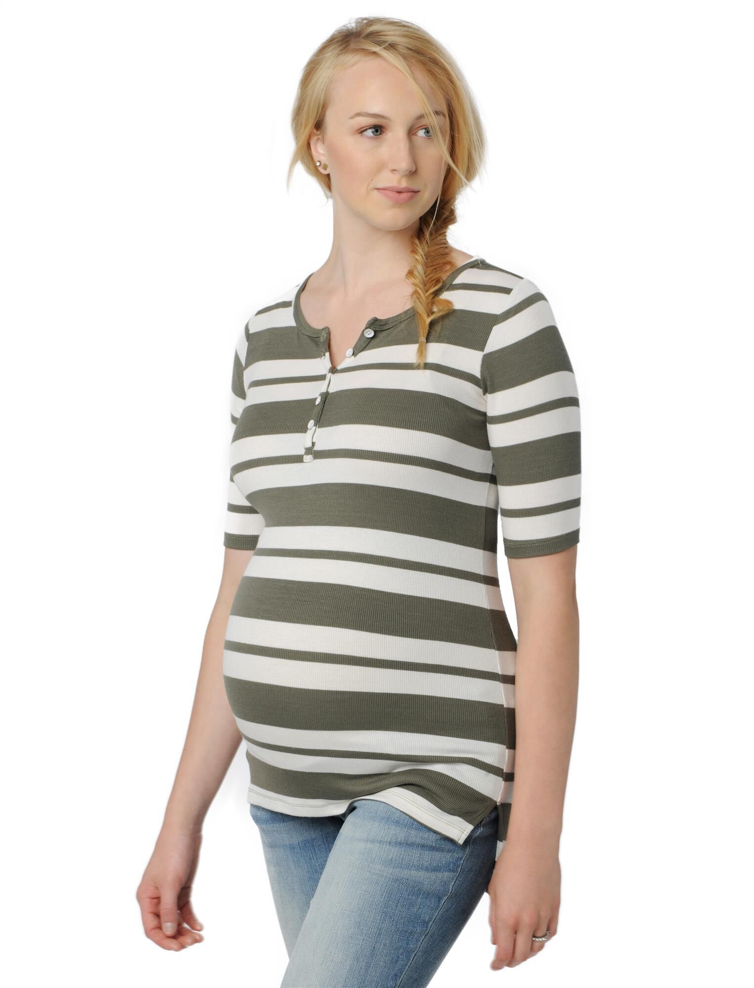 Side Ruched Maternity Henley Tee