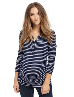 Henley Maternity T Shirt, Navy/White Stripe