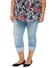 Plus Size Highline Cuffed Maternity Crop Jeans, Light Wash