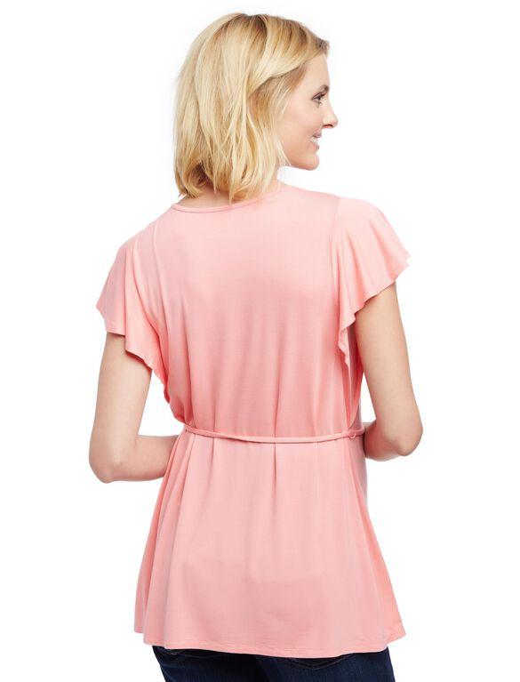 Lace Detail Flutter Sleeve Maternity Shirt, Salmon Rose