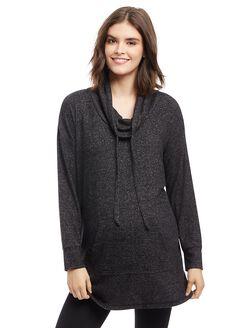 Cowl Neck High-low Hem Maternity Sweater, Black Marl