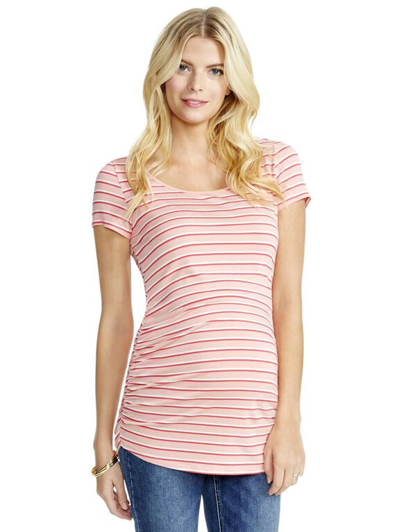 Jessica Simpson Striped Back Interest Maternity Tee, Pink Stripe