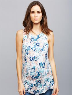 Tart Lattice Back Maternity Tank, Flower Print