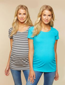 Bumpstart Maternity T Shirt, Grey Stripe/Aqua