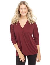 3/4 Sleeve Pull Over Wrap Nursing Top, ZINFANDEL