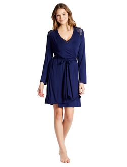 Jessica Simpson Lace Trim Maternity Robe, Primary Navy