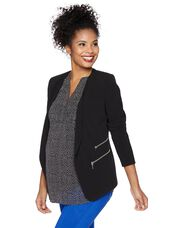 Cascade Bi-stretch Suiting Maternity Jacket, Black