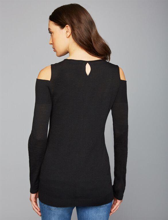 Pietro Brunelli Cold Shoulder Maternity Sweater, Black