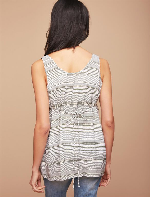 Removable Waist Tie Maternity Blouse, Green Stripe