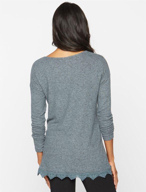 Lace Trim Maternity Sweatshirt, Moss