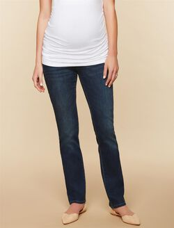 Long Secret Fit Belly Stretch Straight Leg Maternity Jeans, Dark Wash