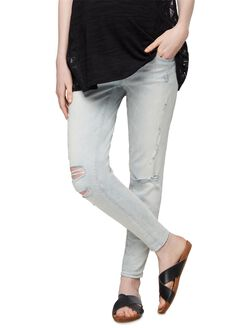 Luxe Essentials Denim Secret Fit Belly Destructed Skinny Maternity Jeans, Light Wash