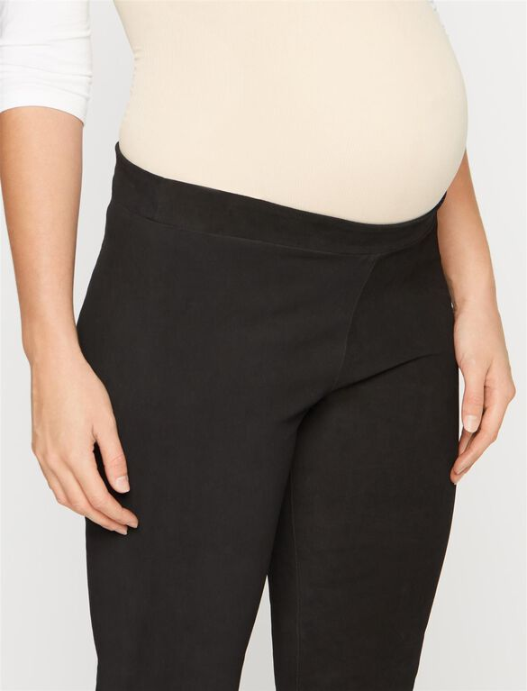 No Belly Leather Slim Leg Maternity Pants, Black