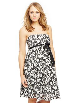 Strapless Lace Maternity Dress, Black/White