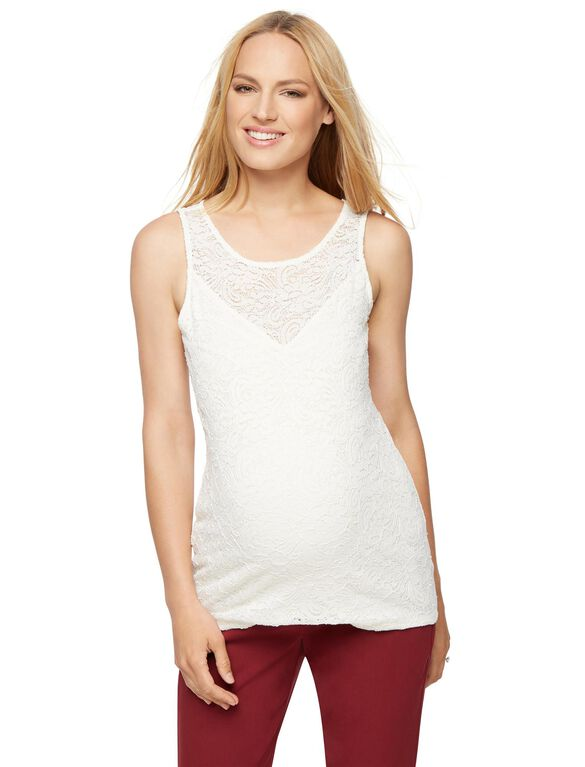Lace Maternity Tank Top, Egret