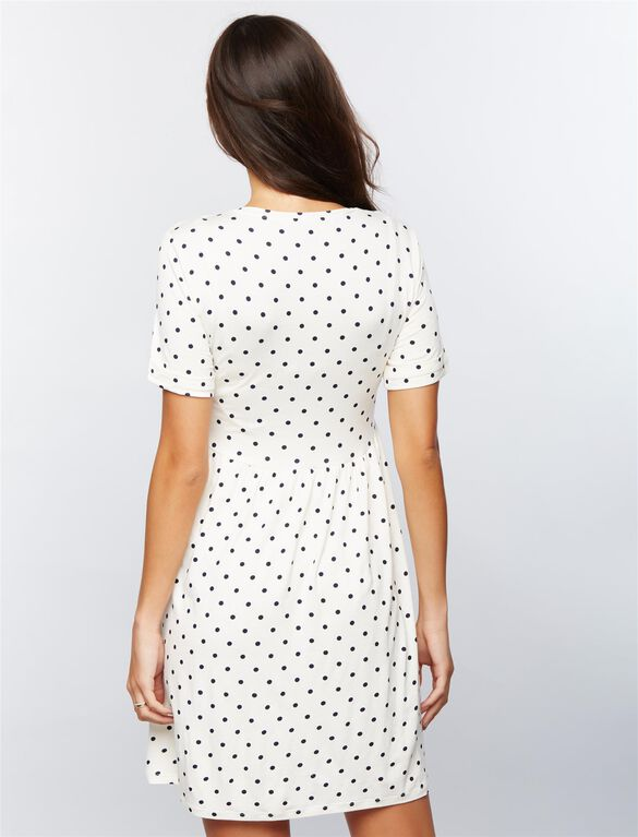Envie De Fraise Knot Front Nursing Dress, WHITE/BLACK DOT