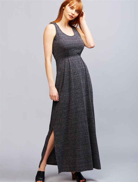 Seraphine Pull Down Tiered Nursing Maxi Dress, Charcoal