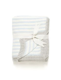 Elegant Baby Cotton Knit Blanket, Blue