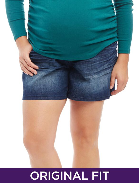 Store Only Plus Size Secret Fit Belly Plain Weave Denim Slim Leg Maternity Shorts, Indigo Denim