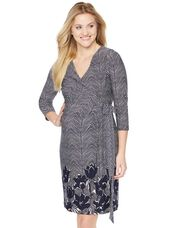 Tie Detail Faux Wrap Maternity Dress, Navy Floral