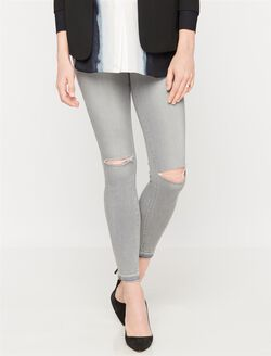 Paige Denim Secret Fit Belly Destructed Skinny Maternity Ankle Jeans, Dove Grey