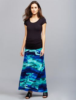Under Belly Side Slit Maternity Skirt, Purple Print