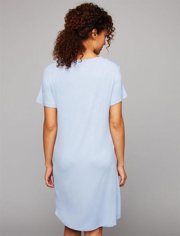 Resting My Eyes Nursing Nightgown, Blue / Ivory