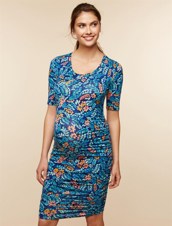 Side Ruched Maternity Dress- Blue Leaf Print, Blue Leaf Print