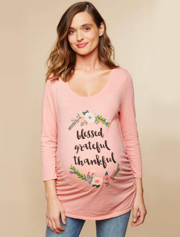 Blessed Grateful Thankful Maternity Tee, Coral