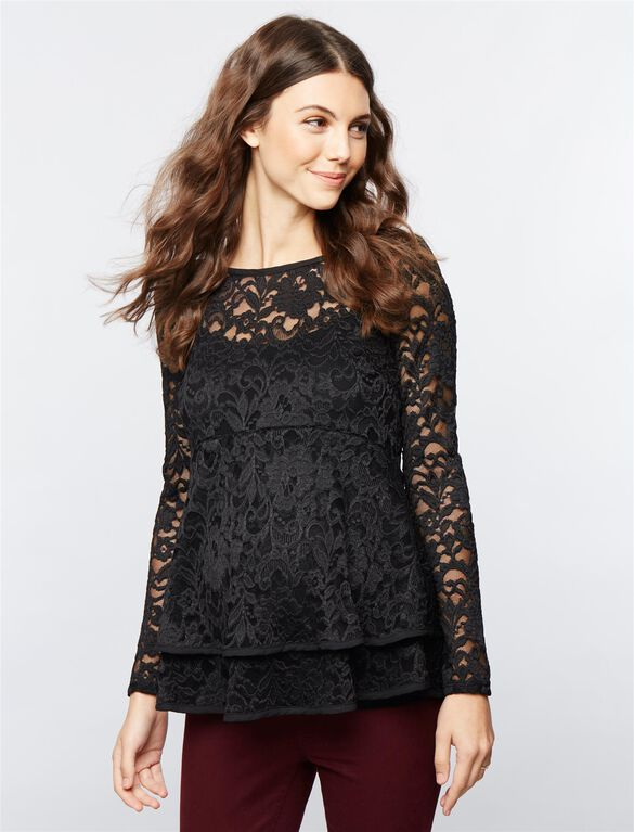 Lace Peplum Maternity Top, Black